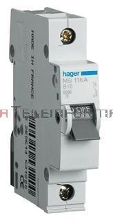 HAGER Wyłącznik/bezpiecznik nadprądowy 16A char.B 6kA 1-bieg.