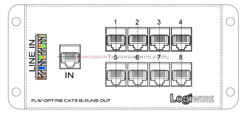 LogiWire Panel rozdzielczy telefoniczny - wejscie RJ45/IDC - wyjście 8x RJ45