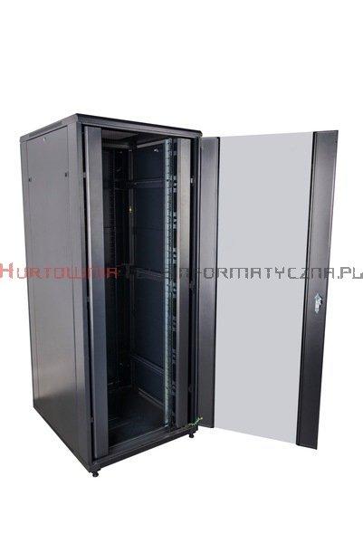 """CC Szafa RACK 19"""" stojąca 42U 600x600 drzwi blacha/szkło, czarna"""