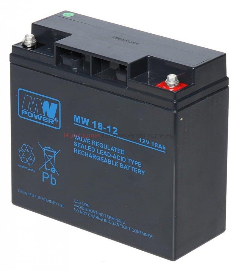 MW POWER Akumulator AGM 12V 18,0 Ah, przyłącze gwint wewnętrzny (6-9lat),