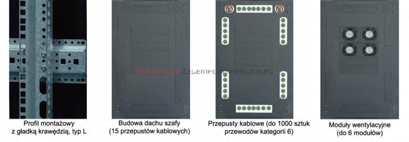 """TOTEN Szafa RACK 19"""" stojąca G7 18U 600x800mm, drzwi blacha/szkło szara"""