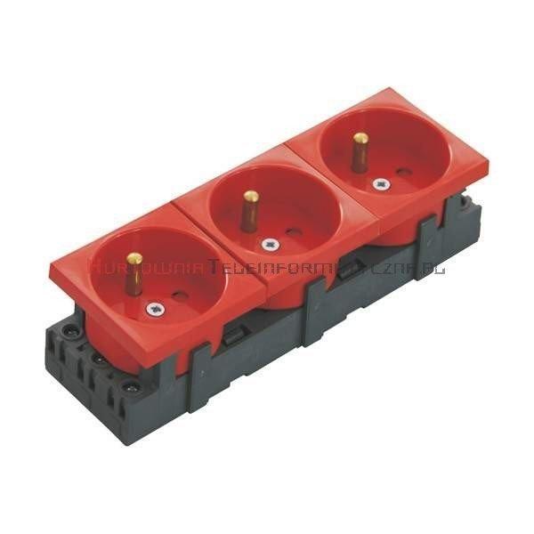 JAVEL gniazdo elektryczne 3x230 z uziemieniem, czerwone 135x45 6mod.