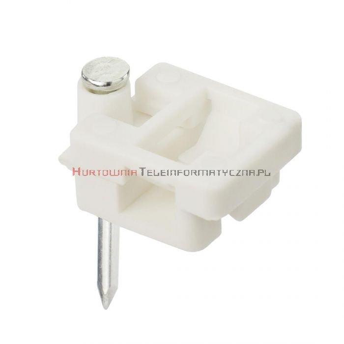 Uchwyt kablowy typu FLOP z gwoździem, na kabel płaski FTTH (100 szt.)