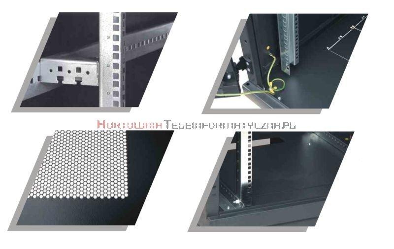 BKT Serwerowa szafa ramowa stojąca Top II 42U, 800/1000/1980, szer./gł./wys. mm. drzwi perforowane, RAL 7021 ( konstrukcja spawana - nośność 1000 kg )