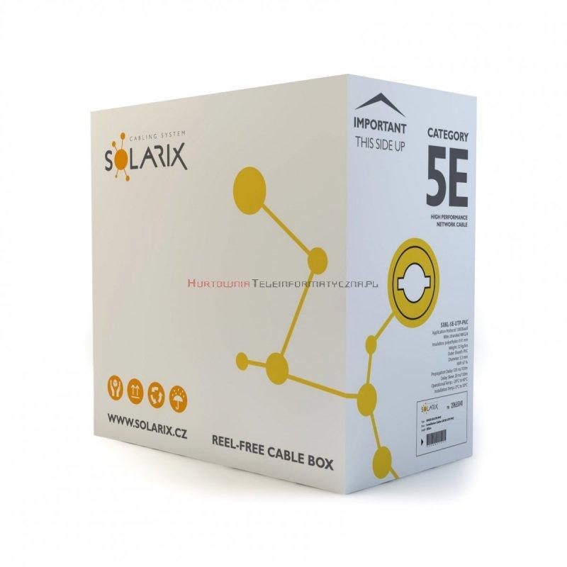 SOLARIX kabel U/UTP, linka, PVC, szary, kat.5e - 305m