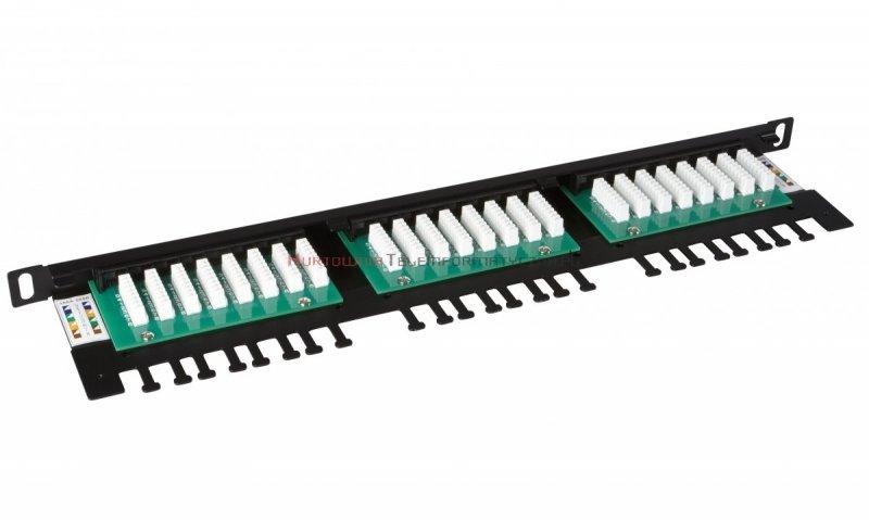SOLARIX Patch Panel 24XRJ45 kat.5e UTP z półką, czarny 0,5U
