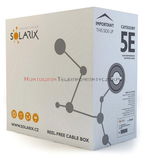 SOLARIX kabel U/UTP, drut, zewnętrzny żelowany, czarny, kat.5e - 305m