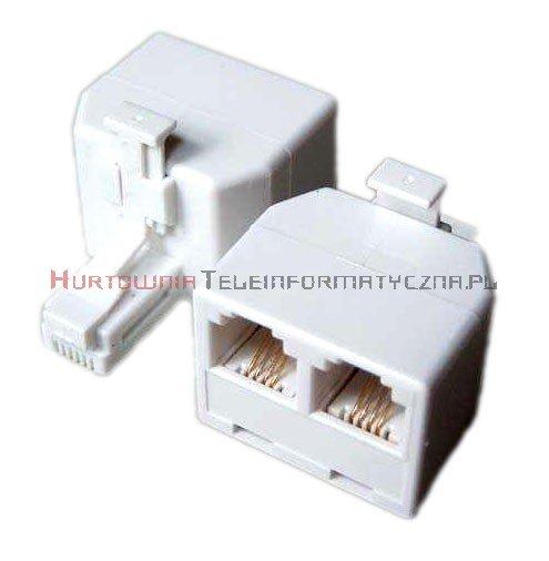 Rozdzielacz telefoniczny trójnik RJ12 6p6c 1x wtyk - 2x gniazdo