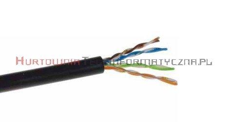 SecurityNET kabel U/UTP kat.5e, drut, PVC/PE zewnętrzny suchy, czarny