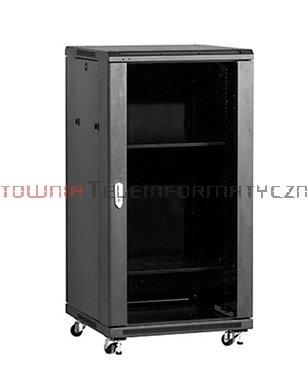 """LINKBASIC Szafa 19"""" stojąca 22U 600x600 mm (drzwi szklane,2xwent.,2xpółka,1xlistwa) czarna"""