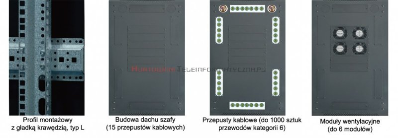 """TOTEN Szafa RACK 19"""" stojąca G3 42U 800x800mm, drzwi perforowane, czarna"""