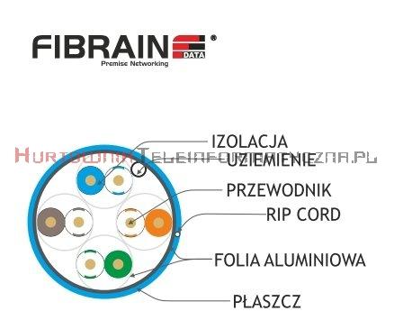 FIBRAIN DATA Quick kat.6 F/FTP 450Mhz, drut LSZH niebieski