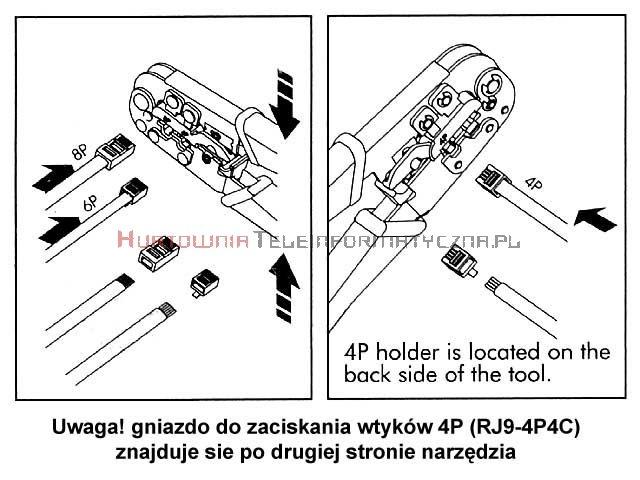 Zaciskarka uniwersalna do złączy RJ09/RJ12/RJ45 4p 6p 8p z blokadą powrotu HT-N5684