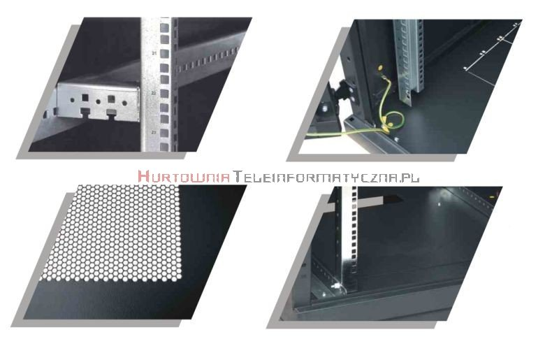 BKT Serwerowa szafa ramowa stojąca TOP II 42U, 800/1200/1980, szer./gł./wys. mm. drzwi perforowane, RAL 7035 ( konstrukcja spawana - nośność 1000 kg)