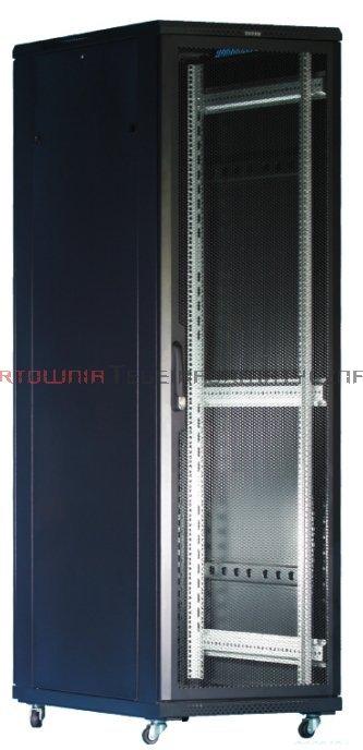 """TOTEN Szafa RACK 19"""" stojąca G7 42U 600x800mm, drzwi blaha/szkło, czarna"""