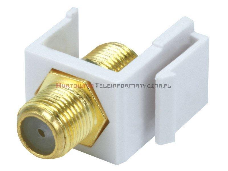 """Adapter keystone ze złączem typu """"F"""" beczka/łącznik, kolor biały"""
