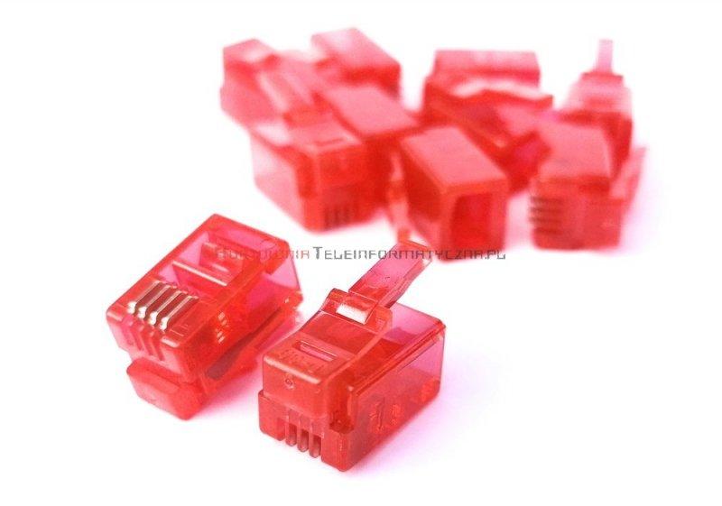 Wtyk RJ09 mikrowtyczna 4p4c czerwona (100szt)