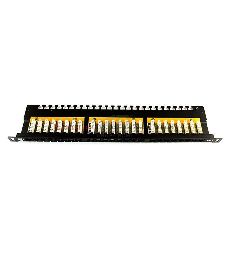 """GT NETWORKS Patch Panel 19"""" RJ-45 24 porty UTP 0,5U kat.6 z półką czarny"""