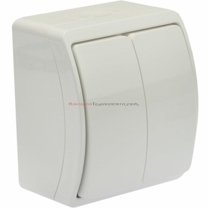 Łącznik natynkowy podwójny IP44, biały
