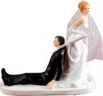 Figurka na tort ślub PARA MŁODA z parasolką