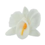 Storczyk kwiat cukrowy na tort 6cm biały 1szt