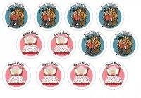 Opłatki waflowe na muffinki Dzień Babci i Dziadka 6cm 12szt v1