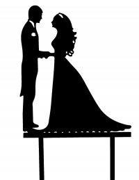 Dekoracja tortu ślubnego płaska PARA MŁODA