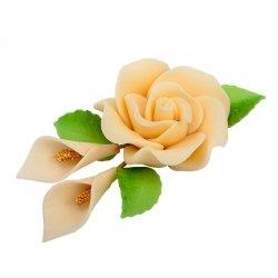 Zestaw cukrowe kwiaty RÓŻA MAX + KALIE z listkami ECRU