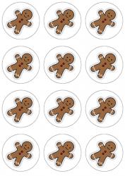 Opłatki waflowe na muffinki ŚWIĄTECZNE ludzik CIASTEK 6cm 12szt