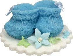 Buciki cukrowe na tort CHRZEST baby shower niebieskie