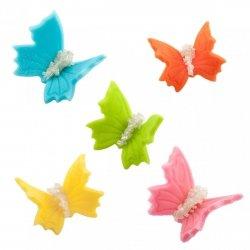 Motylki cukrowe na tort średnie kolorowe 3D 5szt