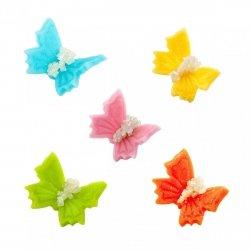 Motylki cukrowe na tort małe kolorowe 3D 100szt