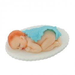 Figurka na tort BOBAS pod kołderką chrzest baby shower niebieski
