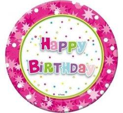 Talerzyki papierowe Happy Birthday różowe 18 cm 6 szt.