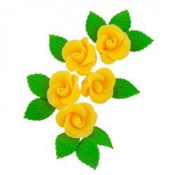 Zestaw cukrowe kwiaty 5x RÓŻA MAŁA z listkami ŻÓŁTY