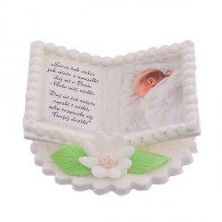 Tabliczka na chrzest uniwersalna KSIĄŻECZKA Z DZIECKIEM - dekoracja cukrowa na tort