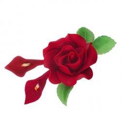 Zestaw cukrowe kwiaty RÓŻA MAX + KALIE z listkami BORDOWE