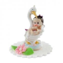 Hokus - Dziewczynka w objęciach bociana - dekoracja na chrzest