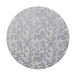 Podkład pod tort okrągły gruby (12mm) SREBRNY 20cm - Modecor