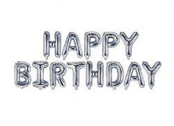 Balon foliowy - HAPPY BIRTHDAY - srebrny 16