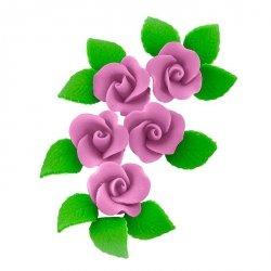 Zestaw cukrowe kwiaty 5x RÓŻA MAŁA z listkami WRZOSOWA