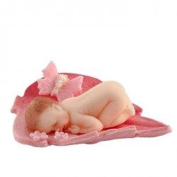 Bobas na liściu różowy - dekoracja tortu na chrzest