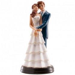 Figurka na tort ślub PARA MŁODA przytuleni 18cm