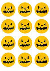Opłatki waflowe na muffinki Halloween Dynia 6cm 12szt v6