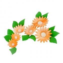 Zestaw cukrowe kwiaty na tort RUMIANEK z listkami POMARAŃCZOWY