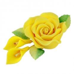 Zestaw cukrowe kwiaty RÓŻA MAX + KALIE z listkami ŻÓŁTE