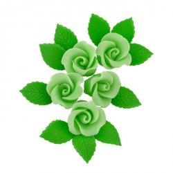 Zestaw cukrowe kwiaty 5x RÓŻA MAŁA z listkami ZIELONA