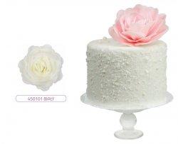 Róża waflowa na tort XL duża (12,5cm) biała 1szt