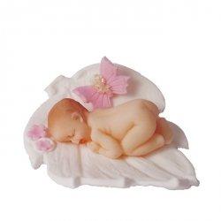 Figurka na tort BOBAS na listku chrzest baby shower biało-różowy