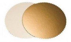 Podkład pod tort gruby złoty karbowany śr. 20cm - 10szt